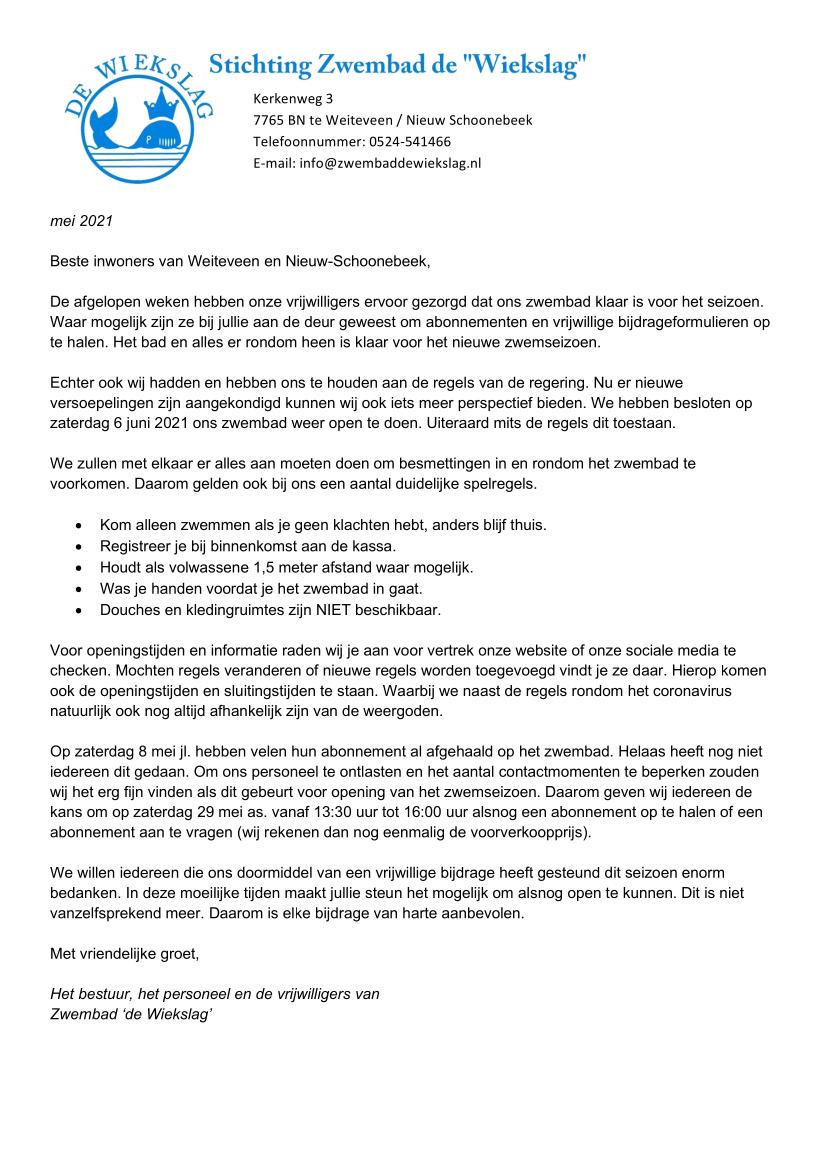 Brief mei 2021